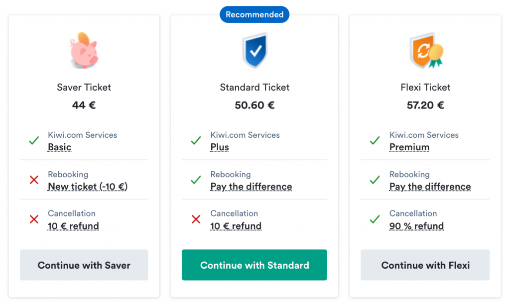 The three Virtual Fare Types from Kiwi.com allow every customer to choose what suits them best — Kiwi.com